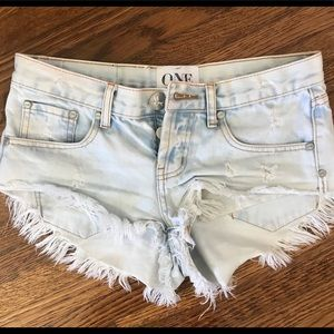 One Teaspoon Acid Wash Denim Shorts Size 25